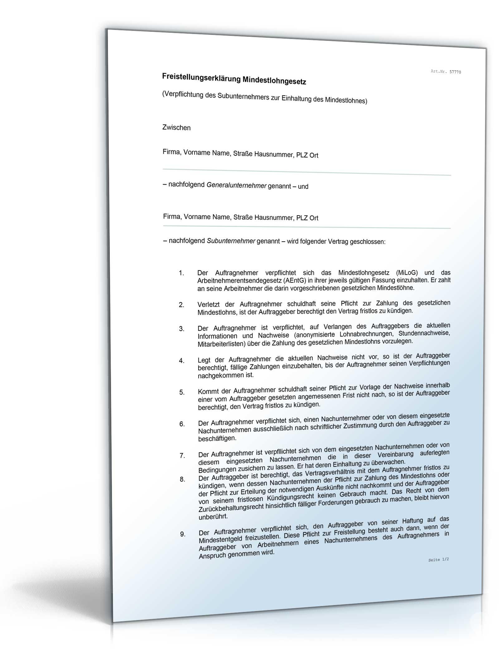 Freistellungserklärung Mindestlohngesetz • DE Vertrag Download