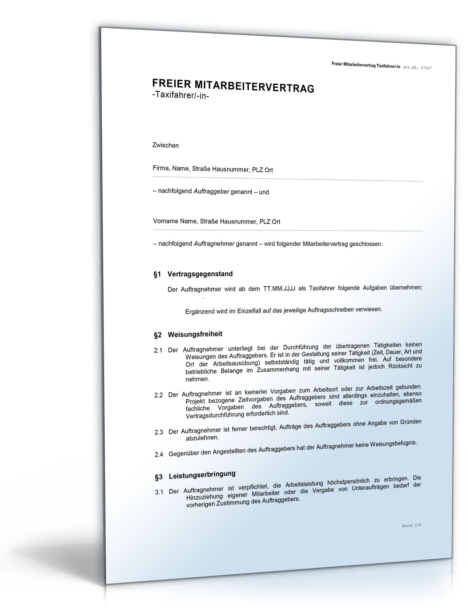 Freier Mitarbeitervertrag Für Taxifahrer De Vertrag Download