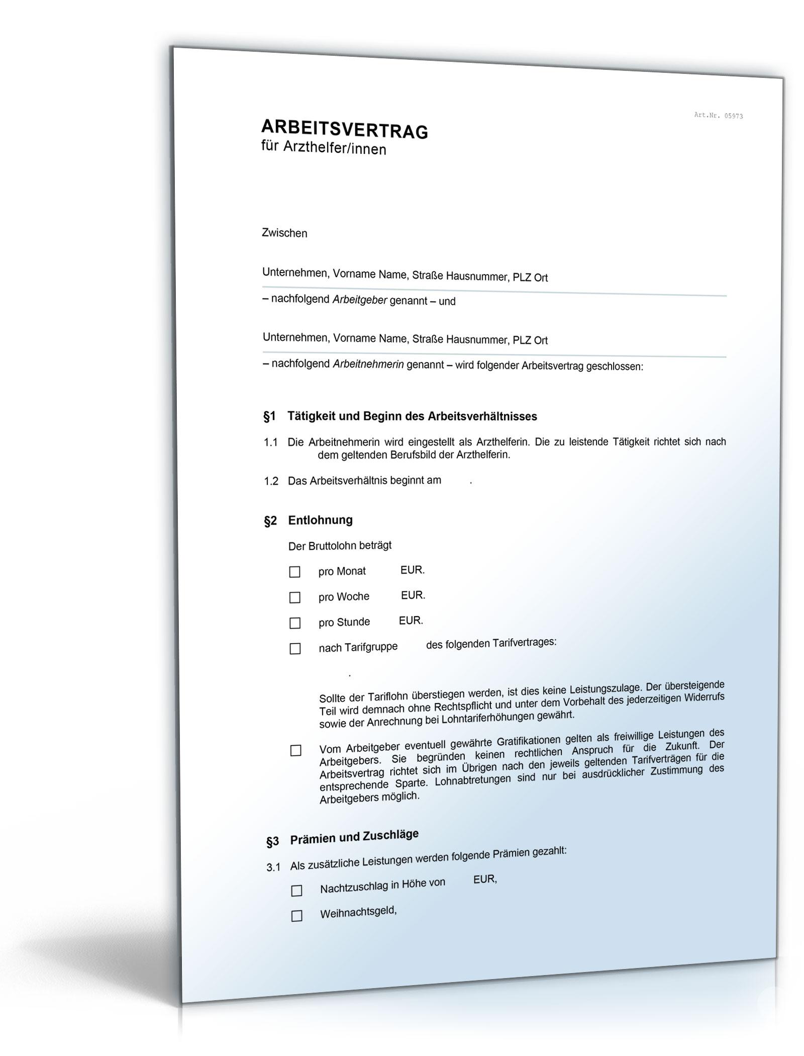 Arbeitsvertrag Für Medizinische Fachangestellte Mfa De Vertrag