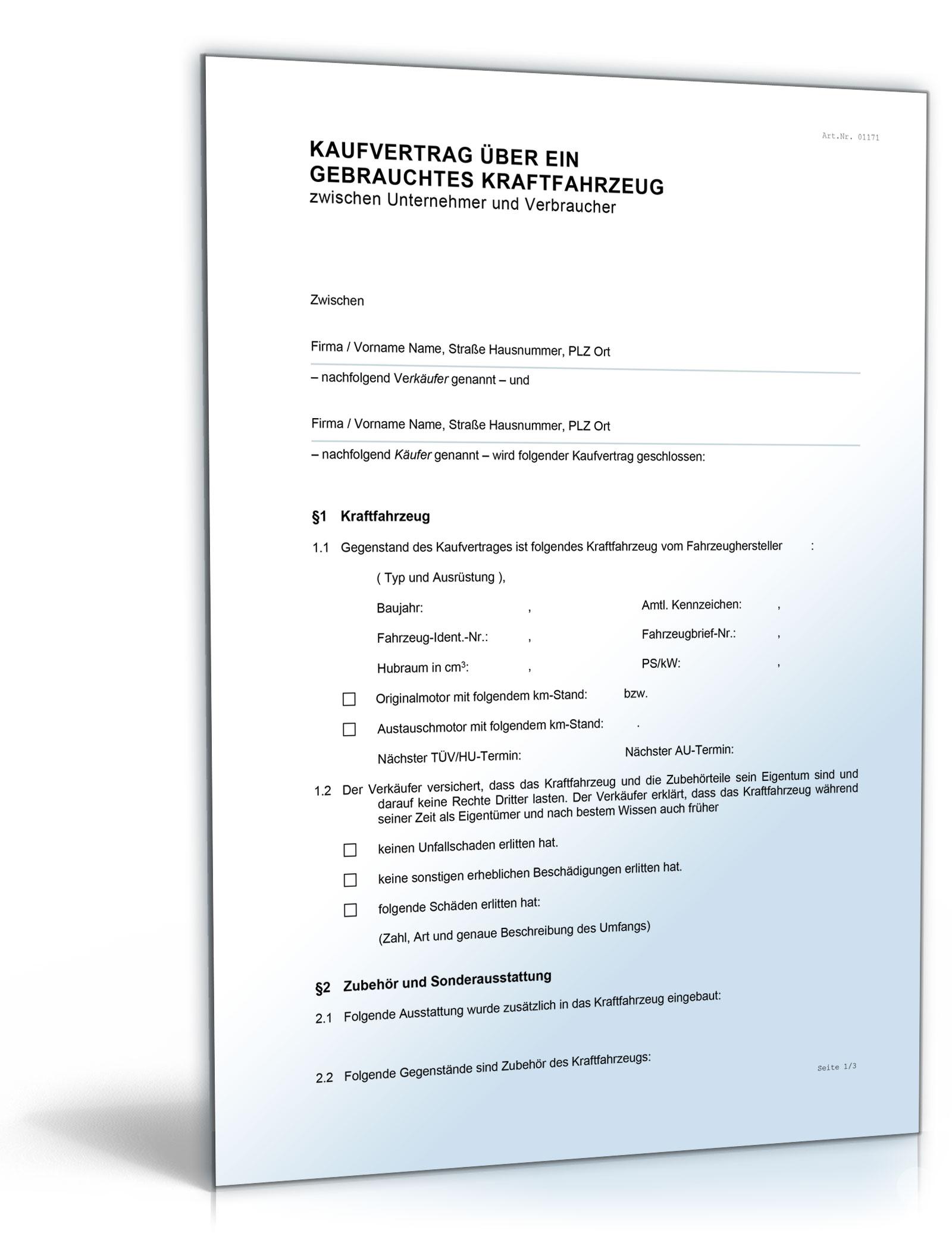 Kfz Kaufvertrag Gewerblicher Verkauf De Vertrag Download