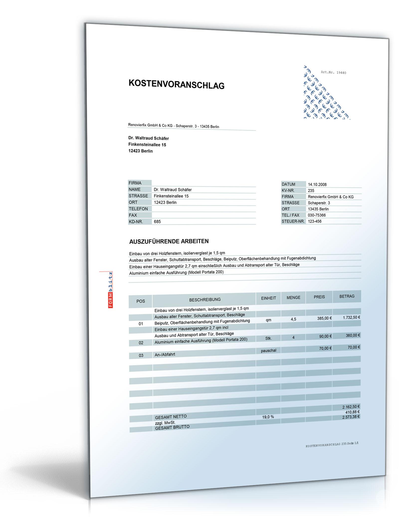 Kostenvoranschlag Angebot Für Fenster Und Türeinbau De Vorlage