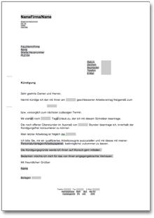 Ordentliche Kündigung An Einen Arbeitgeber At Musterbrief Download