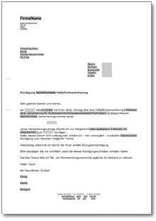 Kündigung Haftpflichtversicherung At Musterbrief Download