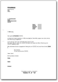 1 Mahnung Zahlungserinnerung Freundlich At Musterbrief Download