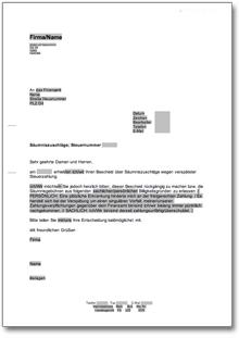 Einspruch An Das Finanzamt Gegen Säumniszuschläge At Musterbrief