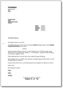 Kündigung Vertrag Fristgemäß At Musterbrief Download