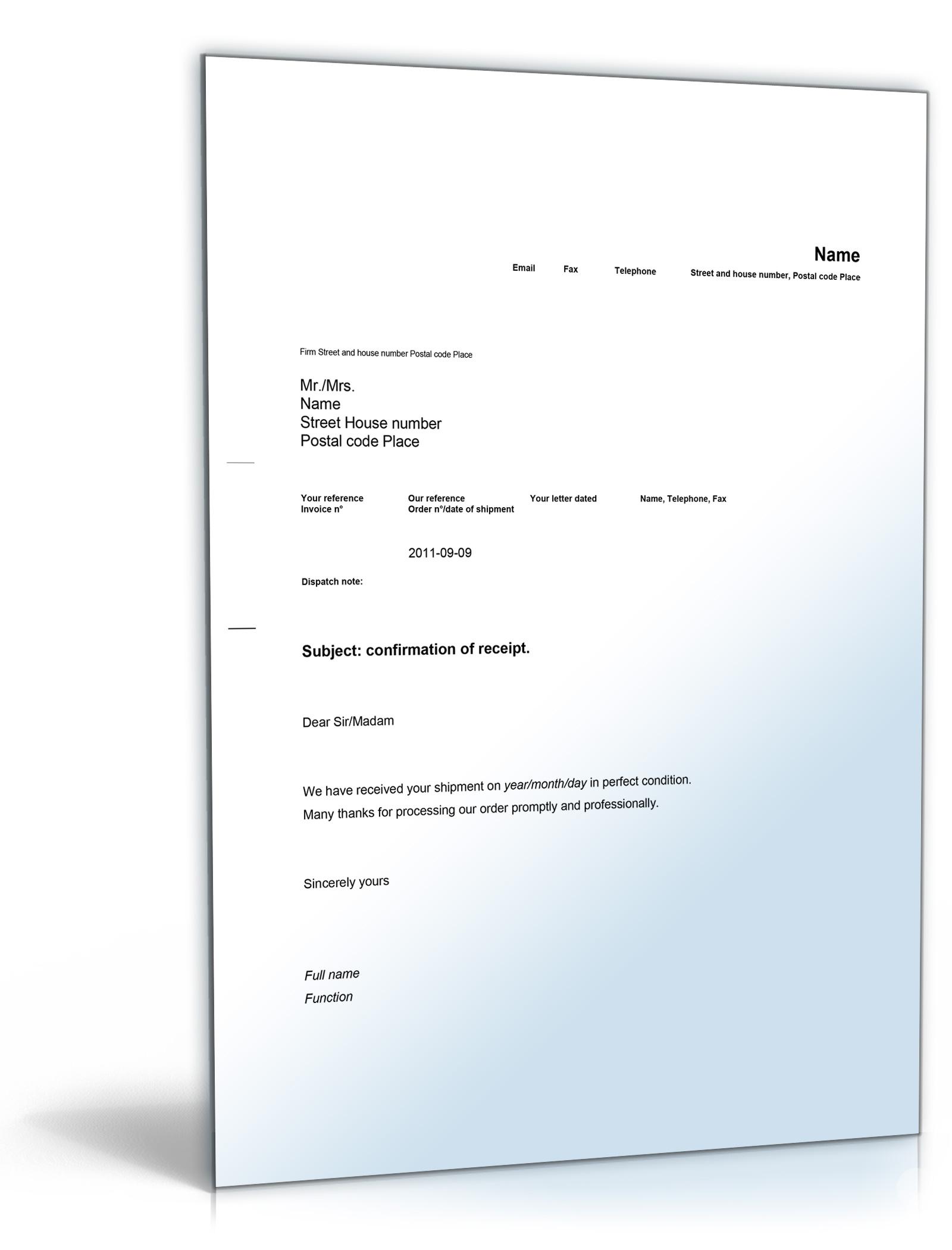 Empfangsbestätigung Auf Englisch Confirmation Of Receipt De