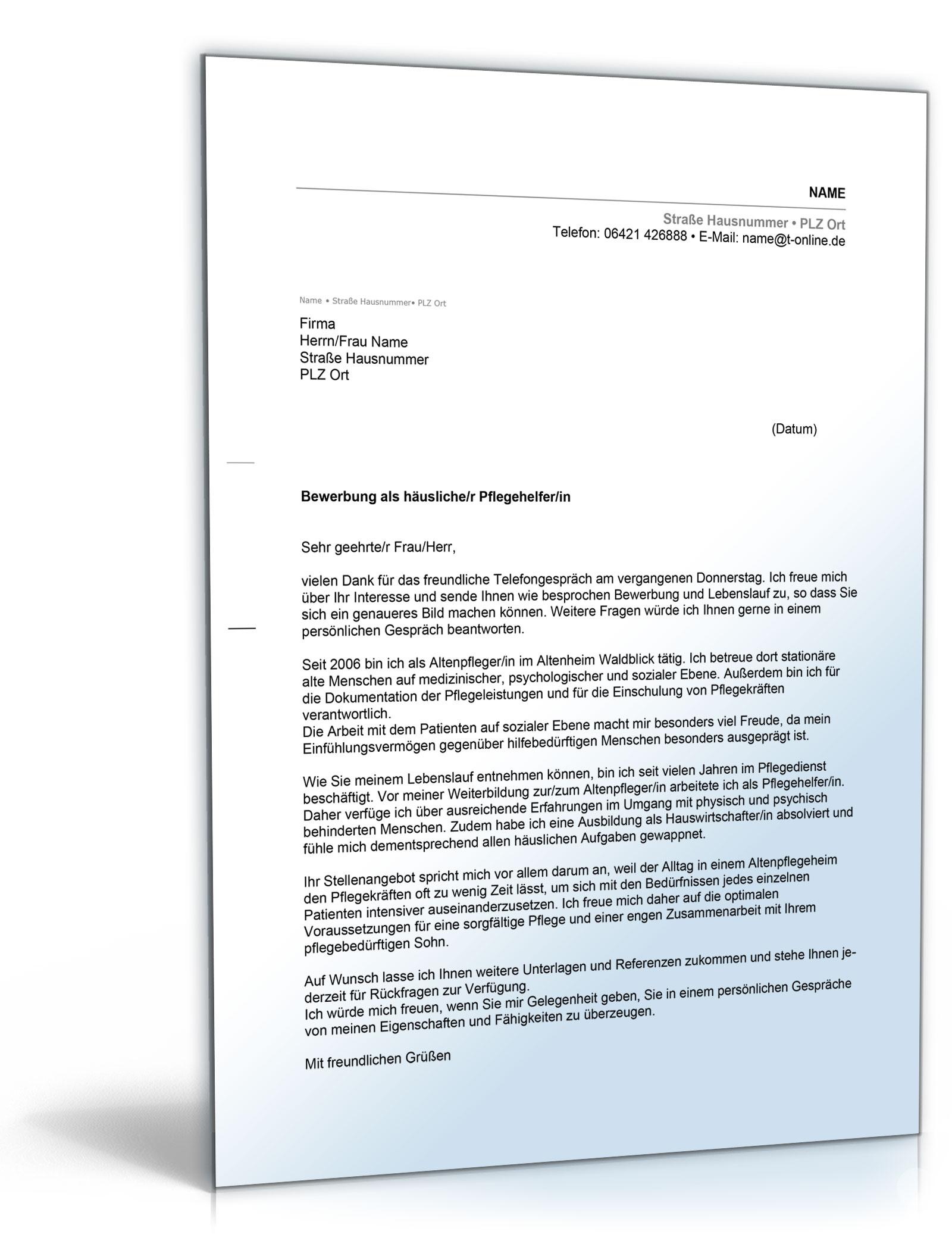 anschreiben bewerbung pflegehelferpflegehelferin dokument zum download - Bewerbung Maschinen Und Anlagenfuhrer