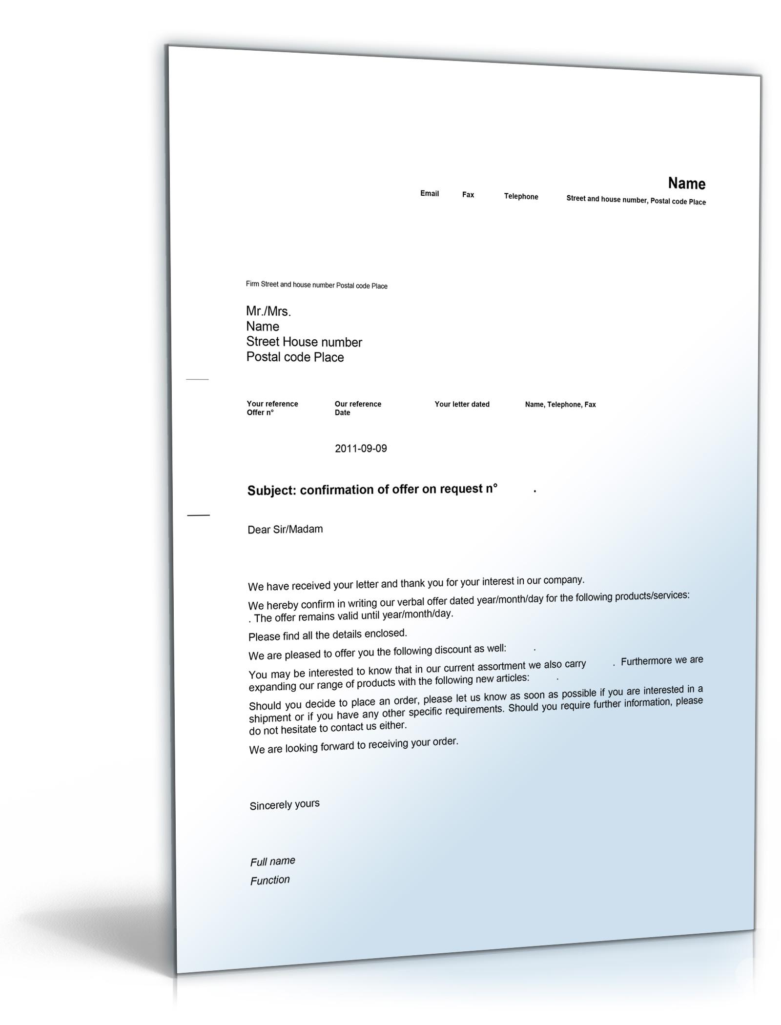 Geschäftsbrief Angebot Auf Anfrage Englisch De Musterbrief Download