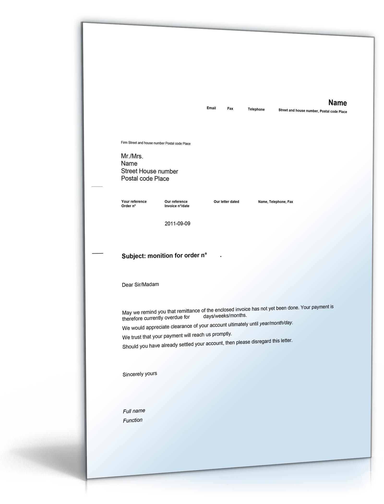 Mahnung Englisch De Musterbrief Download