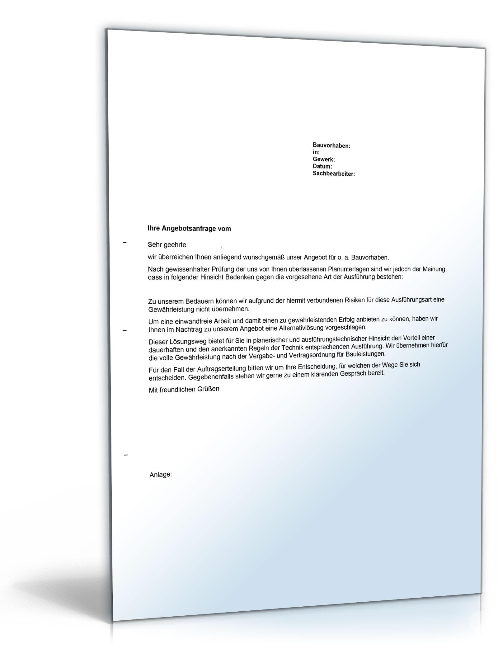 Bedenkenanmeldung Gegen Die Ausführungsunterlagen Bei Angebotsabgabe