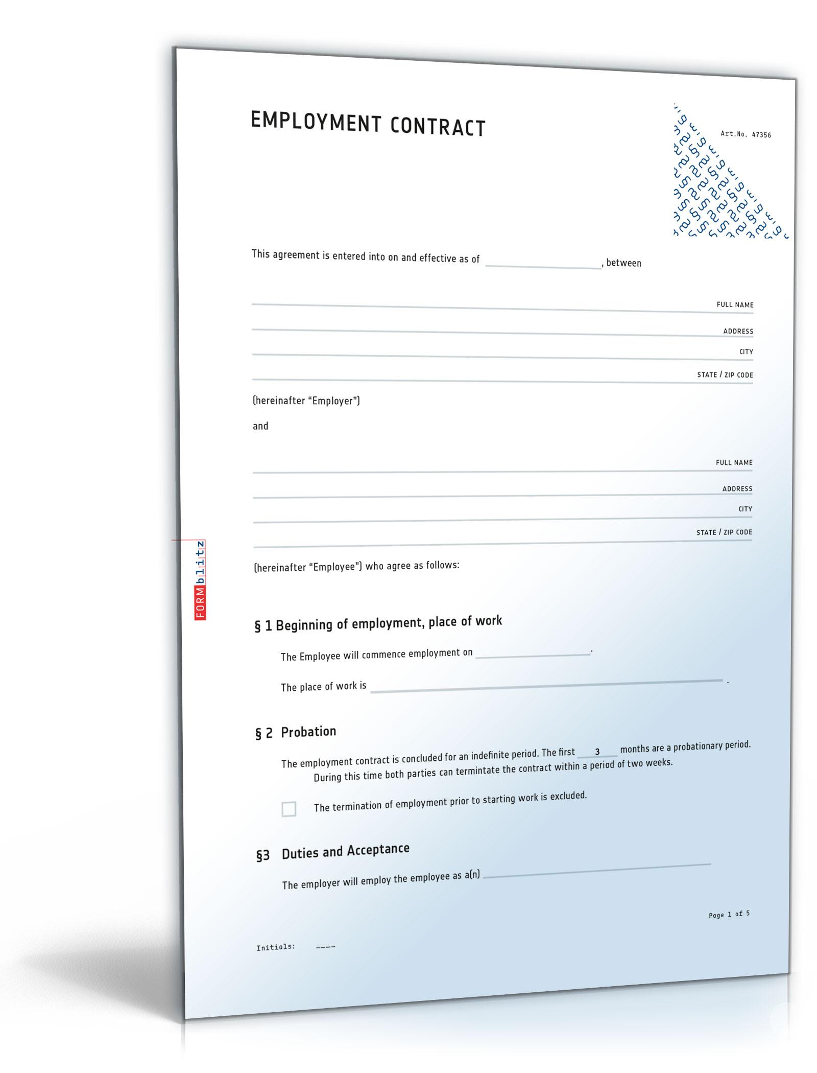 Arbeitsvertrag Mit Englischer übersetzung De Vertrag Download