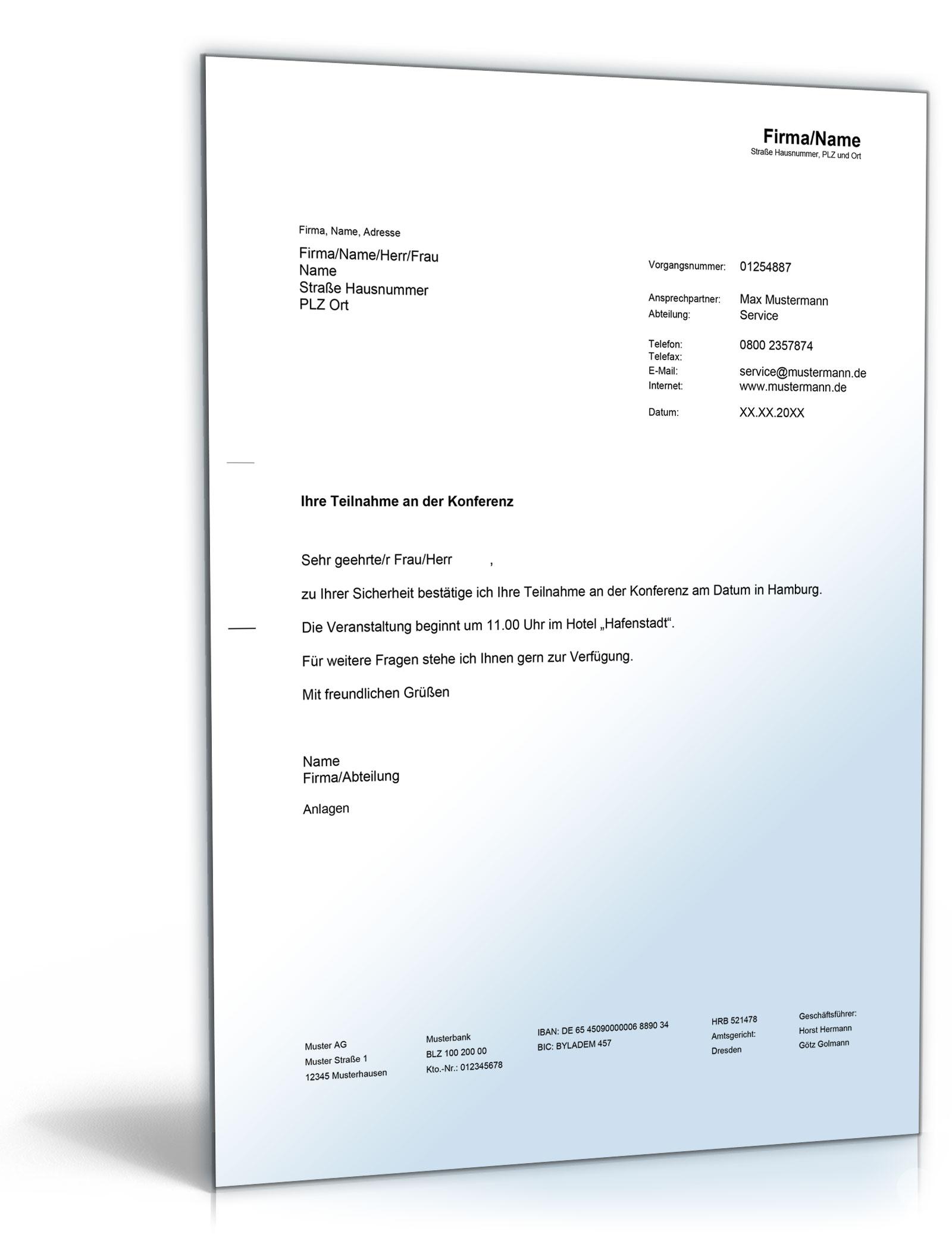 Bestätigung Einer Konferenzteilnahme De Musterbrief Download