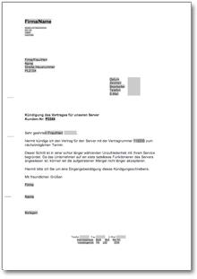 Kündigung Eines Servers At Musterbrief Download