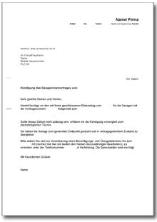 Kündigung Garagenmietvertrag Fristgemäß Vermieter De