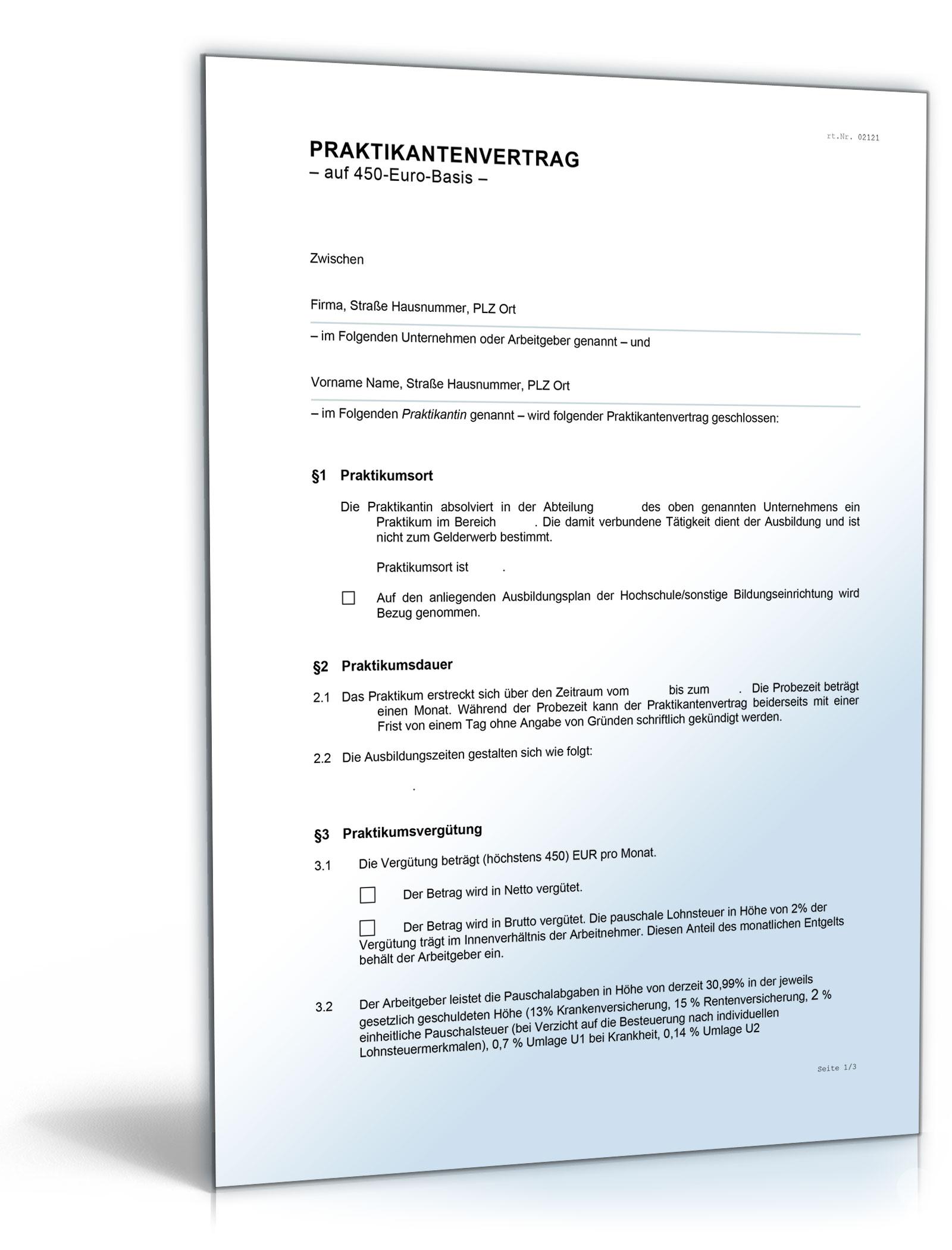 Praktikantenvertrag Auf 400 Euro Basis De Vertrag Download