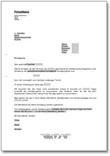Fristgerechte Kündigung An Einen Arbeitnehmer De Musterbrief Download