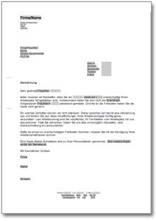 Abmahnung Wegen Unentschuldigten Fehlens De Musterbrief Download