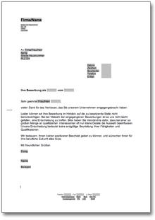 Absage Einer Bewerbung Um Eine Lehrstelle De Musterbrief Download