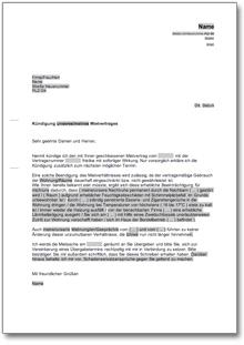 Kündigung Mietvertrag Fristlos Mieter De Musterbrief Download