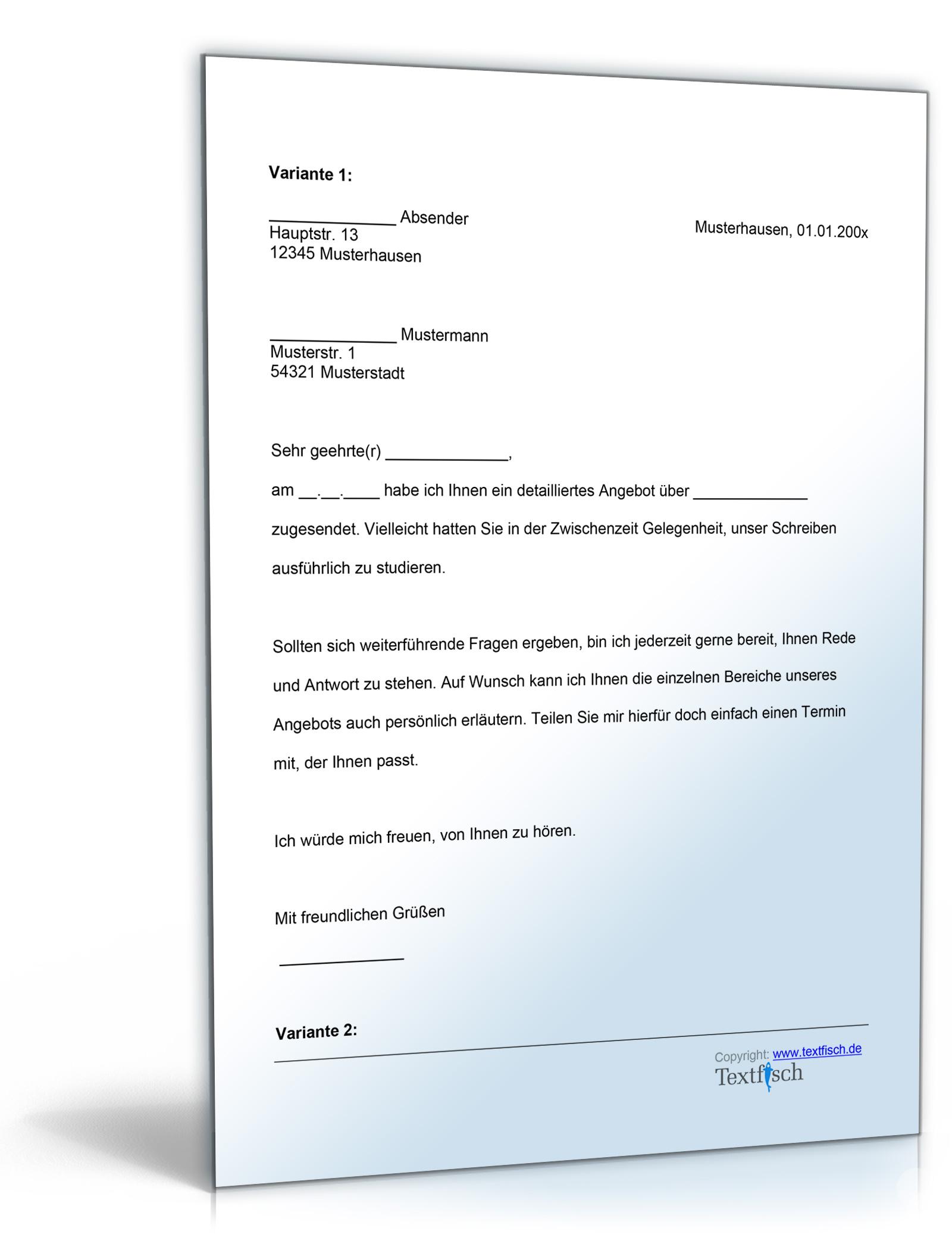 Follow Up Schreiben De Musterbrief Download